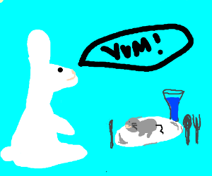 rabbit eating mouse :D