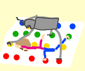 Playing Twister with a robot.