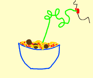 woman using a straw to eat spaghetti