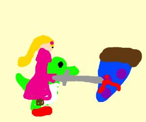 zelda riding yoshi killing a blue pizza slice