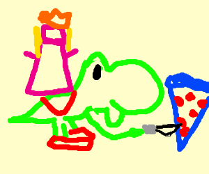 Peach on a yoshi stabs blue pizza
