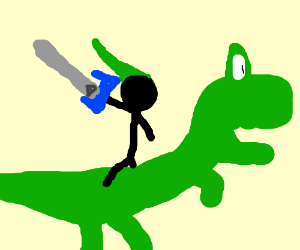 stickman with master sword rides a rich dino
