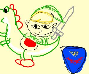 Link rides a Yoshi