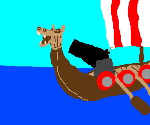 Viking ship with cannon upgrades