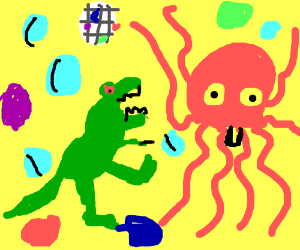 Dinosaur and octopus dance with bubbles