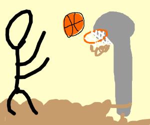 basket ball into muddy hoop