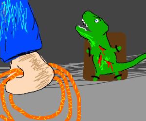 guys torturing a dino
