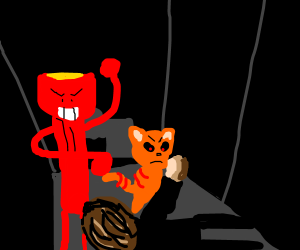 giant flashlight and evil cat mug a rich man