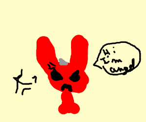 evil bunny named angel is angry