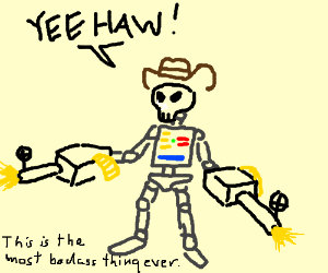 robot cowboy skeleton with machineguns