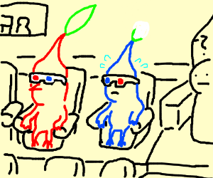 Pikmin Watching A 3-D Movie
