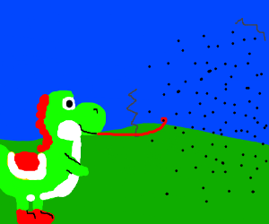 Yoshi eats a fly from a huge swarm.