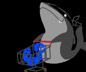 Shark Robber Pushes Cart of Stolen Goods