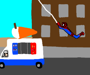 spiderman chases down the ice cream man!