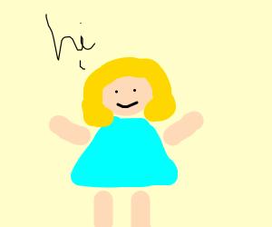 Woman saying hi