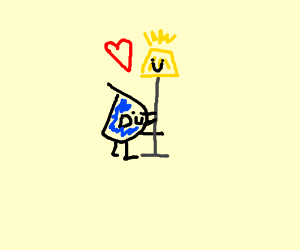Drawception D hugs lamp