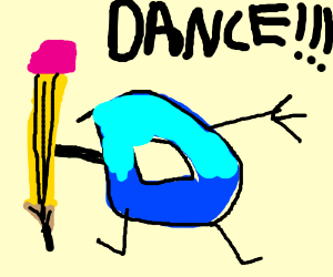 A square Drawception D wants you to dance.