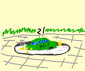 Green car on a pool of sperm