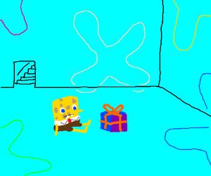 Spongebob celebrates a birthday.
