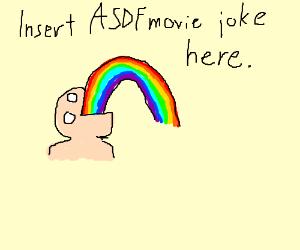 Man vomiting rainbows