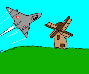 Frenchman flies past a windmill