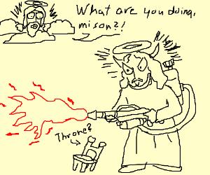 Jesus Devil flaming throne Ofuda JEVIL!