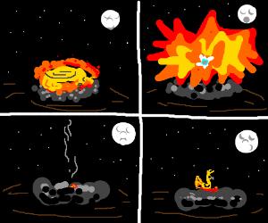 A sleeping phoenix explodes