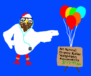 Hipster chicken sells balloons