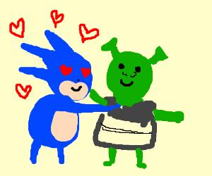 Sanic Hegehog loves Shrek