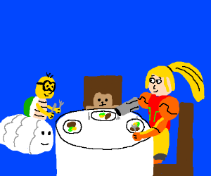 Lakitu, a teddy bear, and Samus have dinner