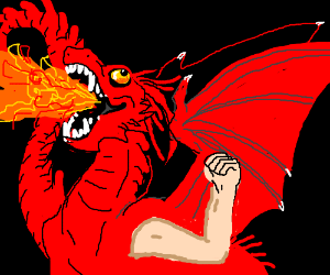 happy fire breathing dragon with a human arm