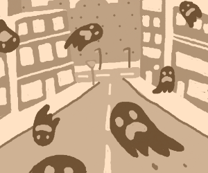 Ghosts haunting an empty street