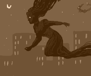 Spooky ghosts flying through a city. Spooky.