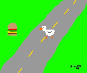 the duck crossed for a burger