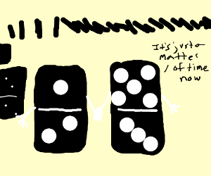 The domino effect on living dominoes