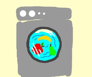 Fruit swirling around in washing machine