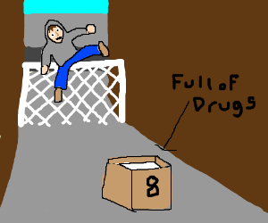 Druggie jumps fence for box of drugs labeled 8