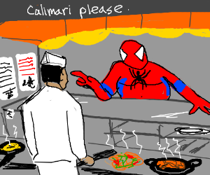 Fat Spiderman orders some calimari.