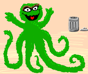 What Oscar the Grouch looks like under his can