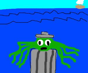 Oscar the grouch as an octopus