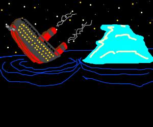 Titanic hits iceberg and sinks