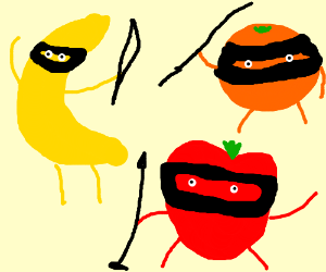 Fruit roleplaying as ninjas