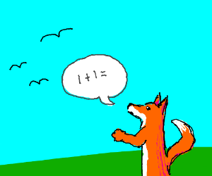 A fox asking three birds about simple math