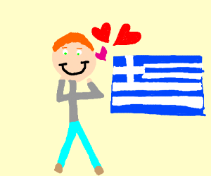 Man in turtleneck loves the country of Greece.