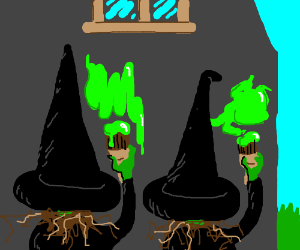 Witches painting a house.