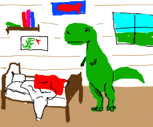Young TRex Struggles To Make His Bed - T rex bed