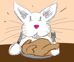 bunny eating turkey
