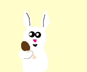 a cute white rabbit about to eat chicken