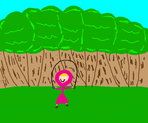 Pink riding hood jump ropes through the forest