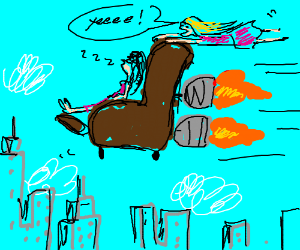 2 girls riding on a flying sofa
